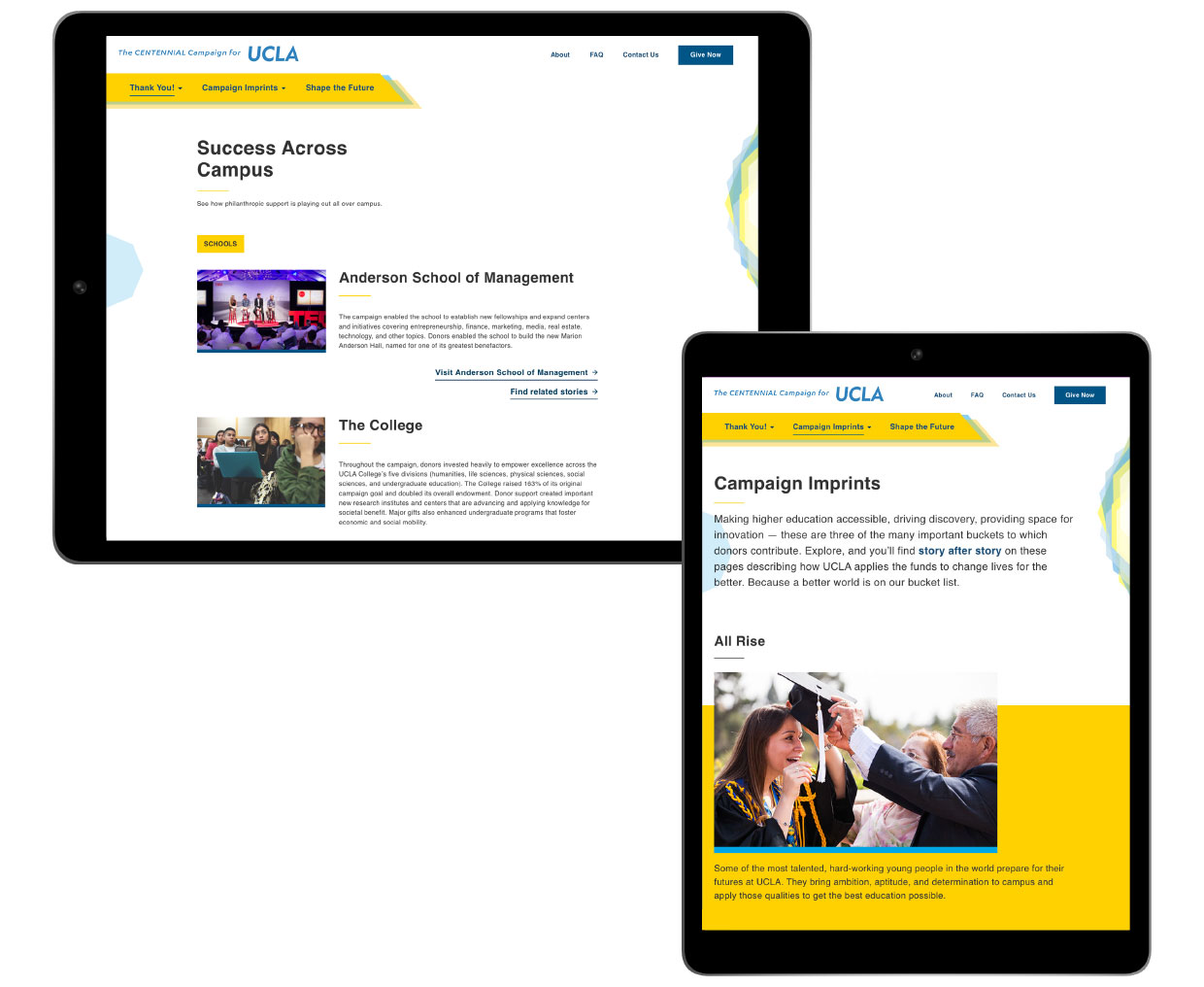 UCLA Centennial campaign webpage displayed on different devices