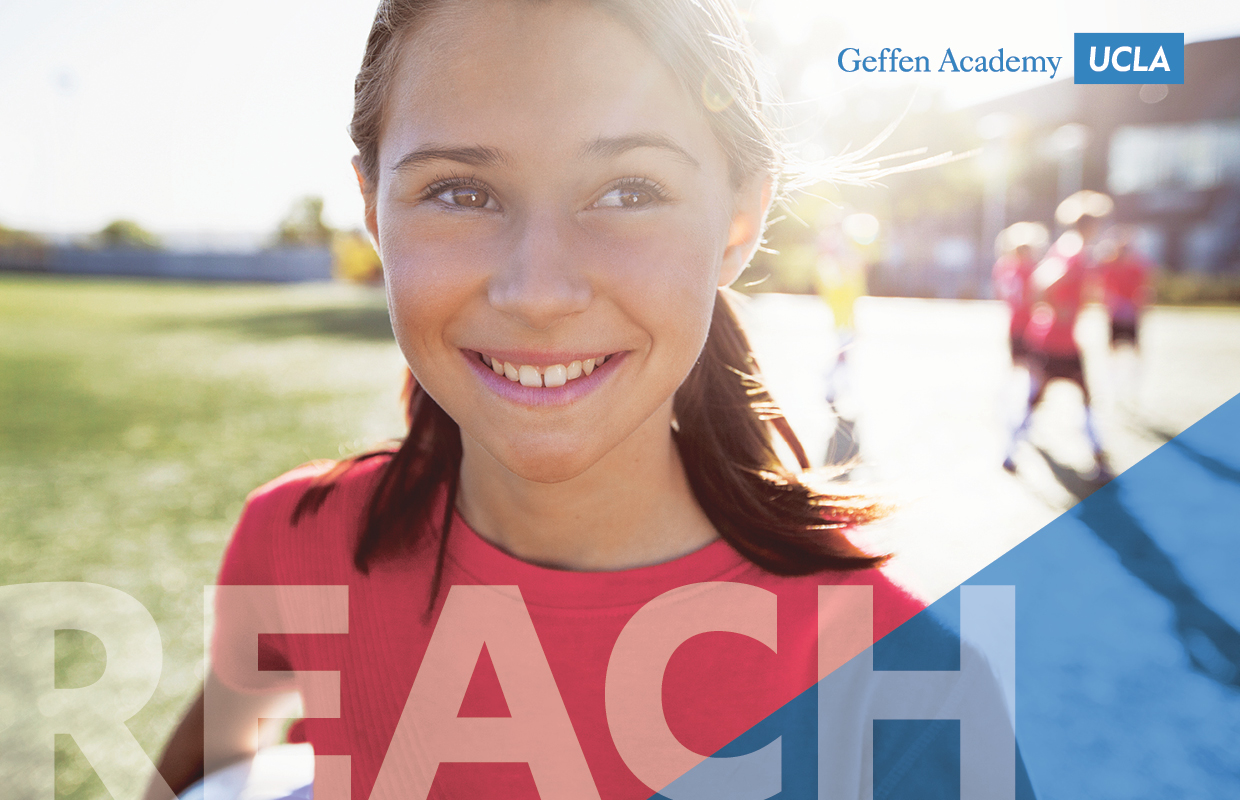 Image of female elementary student on sports field smiling with ray of sunshine lighting the field overlaid with REACH messaging